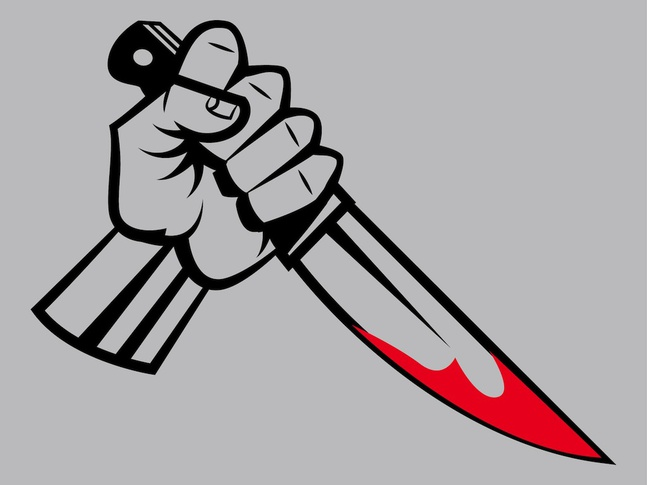 Hand mit blutigem Messer